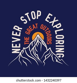 Never StopVintage Adventure Road Tripper Mountain and cactus illustration, outdoor adventure . Vector graphic design for t shirt and other uses.