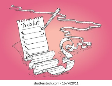 Never-ending to-do list with pencil - vector sketch illustration