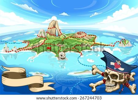 Neverland Adventure Map Pirate Treasure Cove Stock Vektorgrafik