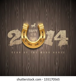 New 2014 year - holidays vector design with painted numbers and golden horseshoe on a wooden background