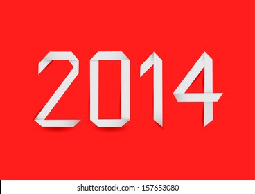 New 2014 year made in origami style