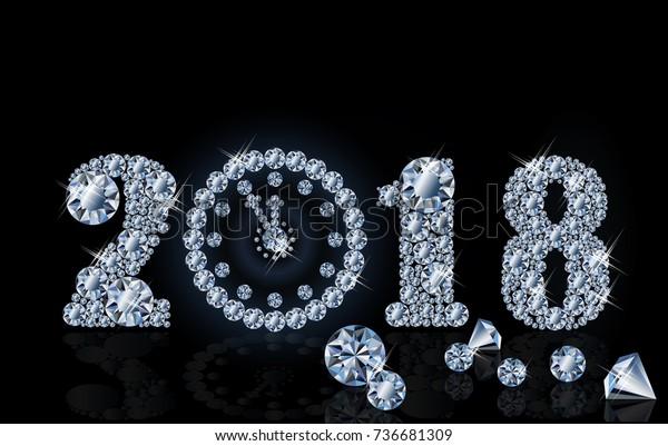 New 2018 Year Diamond Clock Wallpaper Stock Vector (Royalty Free