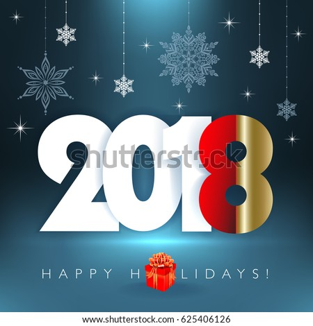New 2018 Year Happy Holidays Background Stock Vector Royalty Free
