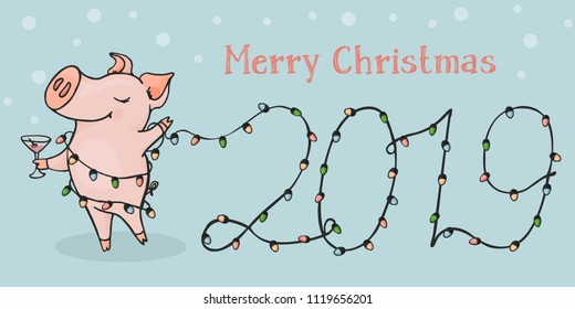 New 2019, horizontal postcard. Chinese year of the pig. Postcard with funny pig and Christmas lights. Colorful vector illustration in sketch style.