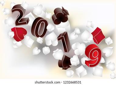New 2019 year 3d banner. Christmas Poker vector illustration