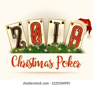 New 2019 Year background, Christmas Poker cards, vector illustration