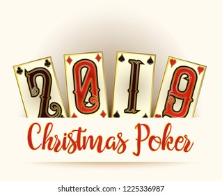 New 2019 Year banner, Christmas Poker cards, vector illustration