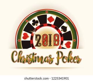New 2019 Year banner, Christmas Poker roulette, vector illustration