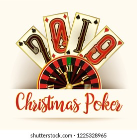 New 2019 Year card, Christmas Poker, vector illustration