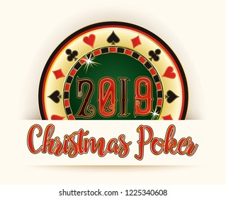 New 2019 Year card, Christmas Poker roulette, vector illustration