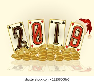 New 2019 Year, Christmas Poker cards, vector illustration