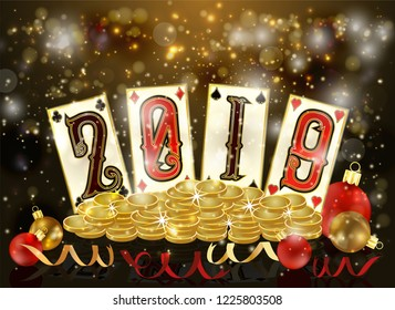 New 2019 Year, Christmas Poker cards and golden coins, vector illustration