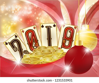New 2019 Year. Christmas Poker card golden coins, vector illustration