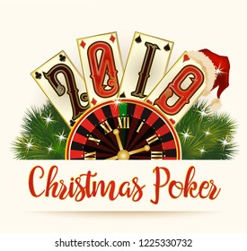 New 2019 Year wallpaper, Christmas Poker cards, vector illustration