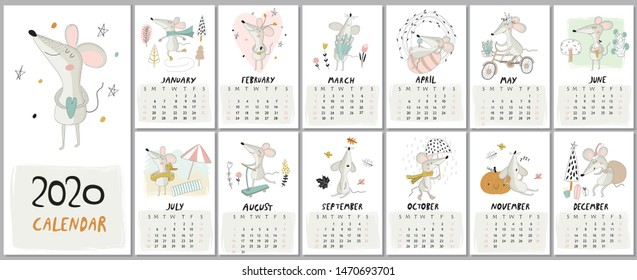 New 2020 year calendar with cute mice in cartoon style