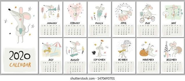 Neuer Kalender 2020 mit süßen Mäusen im Cartoon-Stil