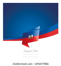 New abstract Haiti flag ribbon origami blue background vector