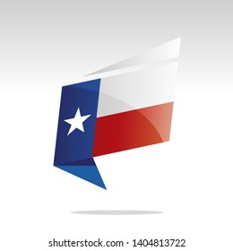 New abstract Texas flag origami logo icon button label vector