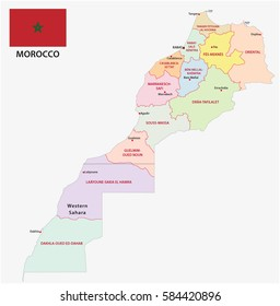 New administrative and political map of the twelve regions of the regions of Morocco with flag 2015