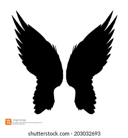 New angel wings silhouette vector design