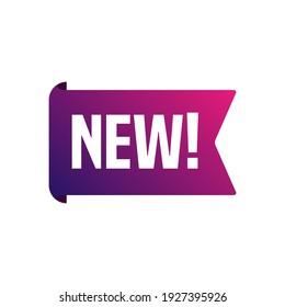 Neues Ankündigungssiegel für Werbung Modernes Flachdesign-Flachband