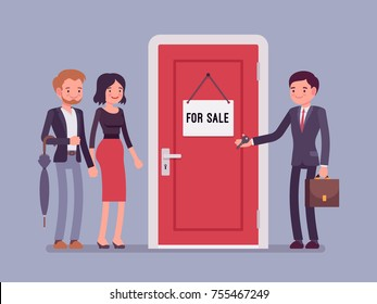 New apartment selling. Man from the estate agency or residential consultancy giving a key from a new flat to a young happy pair. Vector flat style cartoon illustration