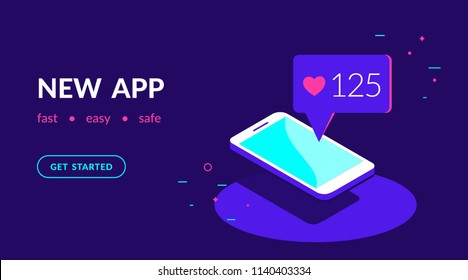 New app or social networks for chatting, blogging and sharing news. Flat vector neon website template and landing page design of smartphone with speech bubble message from friends in social networks