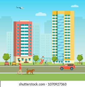New appartment building and children's playground at the residental area. Girl is walking with a dog. Vector flat style illustration