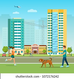 New appartment building  at the residental area. Boy  is walking with a dog. Vector flat style illustration