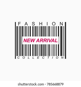 New arrival banner design with barcode over a white background. Vector illustration