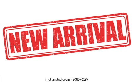 New arrival grunge rubber stamp on white, vector illustration