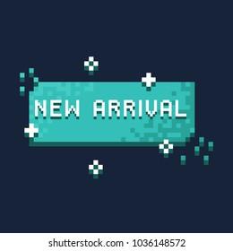 New arrival pixel vector banner,8bit retro banner design.
