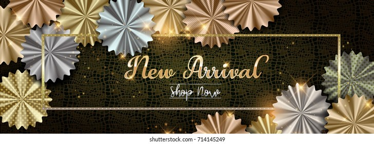 New Arrival Shop Now background with silver, rose gold (bronze) and gold flower shaped decorations. Vector illustration.Wallpaper.flyers, invitation, posters, brochure, banners