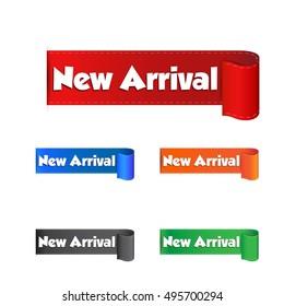 New arrival sticker. Label vector illustration on white background