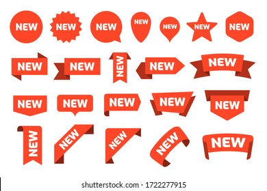 New arrival stickers and labels flat icon kit. Isolated red retail ribbons for promotion vector illustration collection. Discount and price offer concept