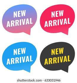 New arrival. Vector flat set speech bubbles illustration on white background.