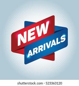 NEW ARRIVALS arrow tag sign.