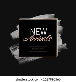 New Arrivals Sale sign over art paint background vector illustration.