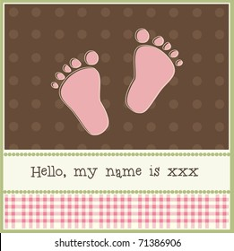 New baby card with feet, vector