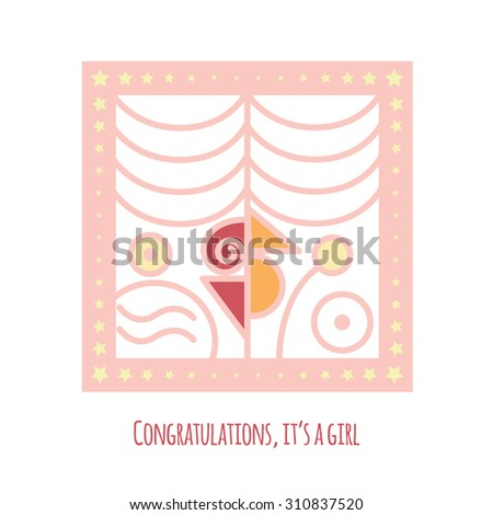 new baby girl announcement card abstract stock vector royalty free