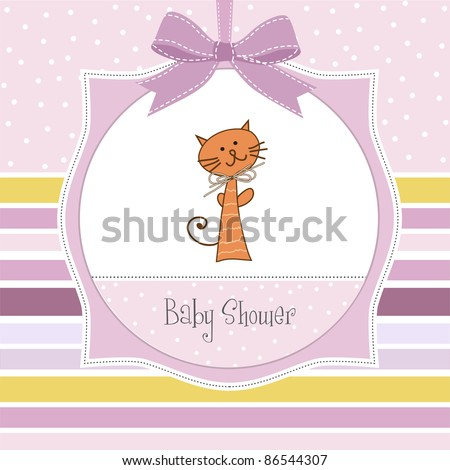 new baby girl announcement card stock vector royalty free 86544307