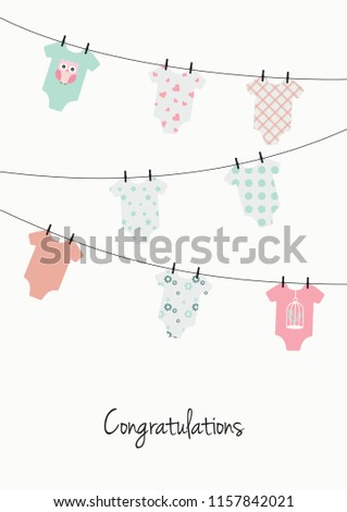 New Baby Girl Congratulations Card Pink Stock Vector Royalty Free