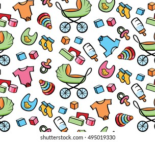 New Baby Toys and Gifts Cute Seamless Vector Pattern