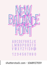 New balance original typeface modern colorful line style. Cool alhabet. Font trend typography for shop, party poster, t shirt, promotion. Vector Illustration 10 eps