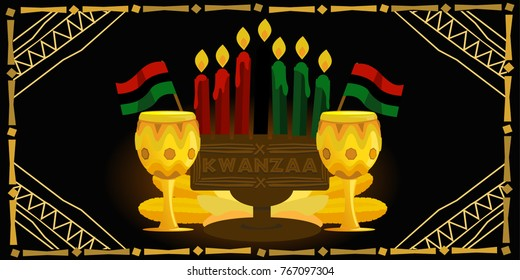new Banner for Kwanzaa with traditional colored candles representing the Seven Principles (or Nguzo Saba).