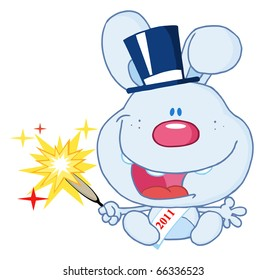 New Blue Year Baby Rabbit Cartoon Character