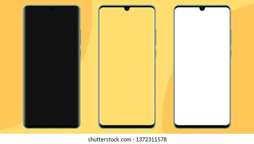 New borderless smartphone. Notch camera. Mockup, blank white and transparent screen