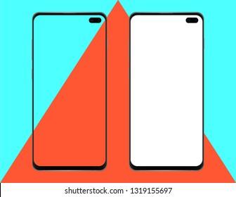 New borderless/bezel-less/edge to edge smartphone mockup + blank white screen