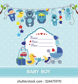 New born Baby boy invitation shower card.Baby boy Flat elements hanging on rope,label,stork.Vector fashion,scrapbook decor.baby Greeting postcard.Blue,cyan colors,birthday background.Design template.