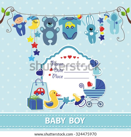 new born baby boy invitation shower のベクター画像素材
